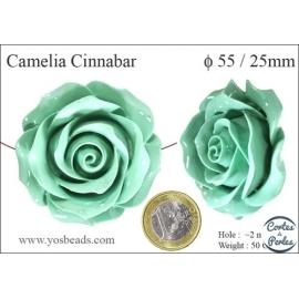 Perles semi précieuses en Cinabre - Fleur/55 mm - Vert