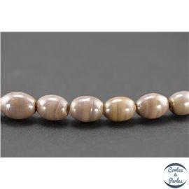 Perles indiennes en verre - Ovales/13 mm - Lilas