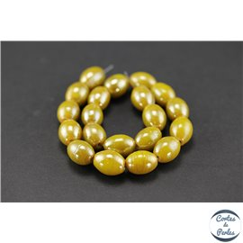 Perles indiennes en verre - Ovales/13 mm - Golden rod