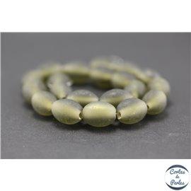 Perles indiennes en verre - Ovales/13 mm - Gris mat