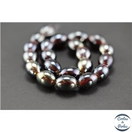 Perles indiennes en verre - Ovales/13 mm - Dark red