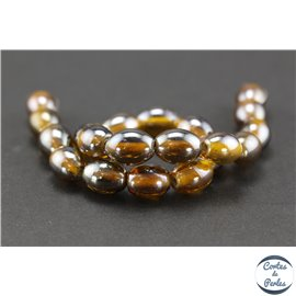 Perles indiennes en verre - Ovales/13 mm - Dark orange