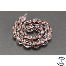 Perles indiennes en verre - Ovales/13 mm - Prune