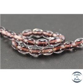 Perles indiennes en verre - Ovales/12 mm - Prune