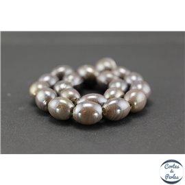 Perles indiennes en verre - Ovales/13 mm - Gris apia