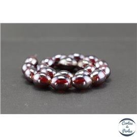 Perles indiennes en verre - Ovales/13 mm - Bordeaux