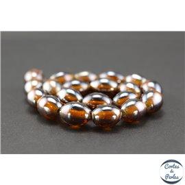 Perles indiennes en verre - Ovales/13 mm - Whisky