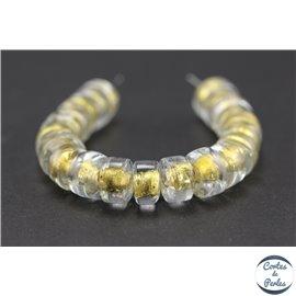 Perles indiennes en verre - Roues/10 mm - Transparent et doré