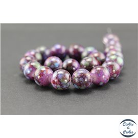 Perles indiennes en verre - Rondes/12 mm - Violet byzantium