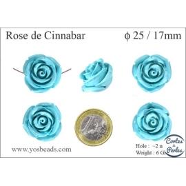 Perles semi précieuses en Cinabre - Rose/25 mm - Bleu