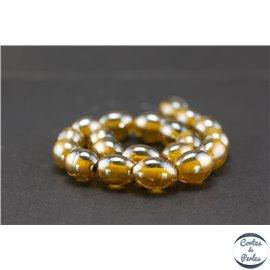 Perles indiennes en verre - Ovales/13 mm - Bronze