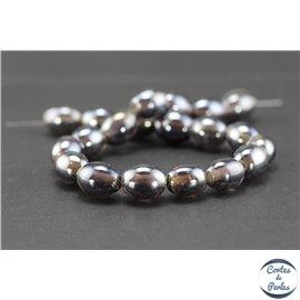Perles indiennes en verre - Ovales/13 mm - Smoke