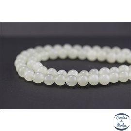 Perles semi précieuses en bowénite - Rondes/8 mm - Vert blanc