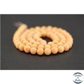 Perles semi précieuses en corail - Rondes/6 mm - Saumon