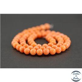 Perles semi précieuses en corail - Rondes/6 mm - Citrouille