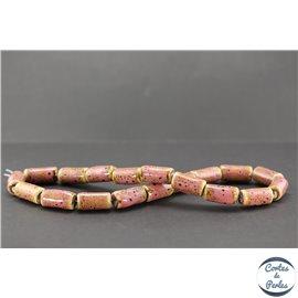 Perles en céramique - Tubes/10 mm - Vieux rose