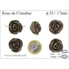 Perles semi précieuses en Cinabre - Rose/25 mm - Gris