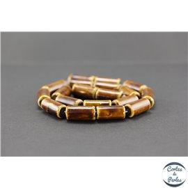 Perles en céramique - Tubes/10 mm - Marron teck