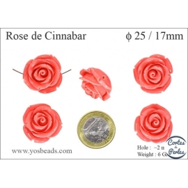 Perles semi précieuses en Cinabre - Rose/25 mm - Rose