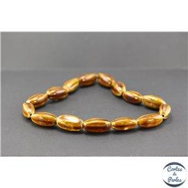 Perles en céramique - Ogives/25 mm - Marron teck