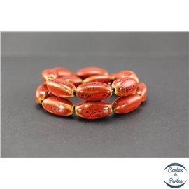 Perles en céramique - Ogives/25 mm - Corail