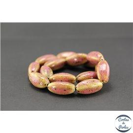 Perles en céramique - Ogives/25 mm - Vieux rose
