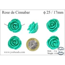 Perles semi précieuses en Cinabre - Rose/25 mm - Vert