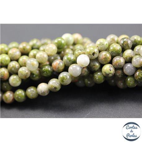 Perles semi précieuses en unakite - Rondes/4 mm - Vert rose