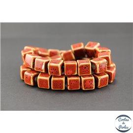 Perles en céramique - Cubes/13 mm - Corail
