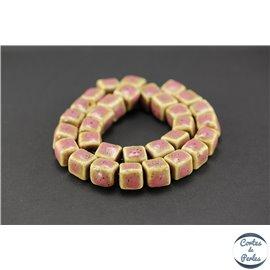 Perles en céramique - Cubes/13 mm - Vieux rose
