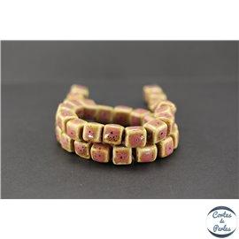 Perles en céramique - Cubes/10 mm - Vieux rose