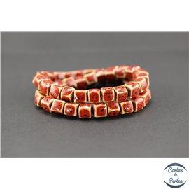 Perles en céramique - Cubes/8 mm - Corail