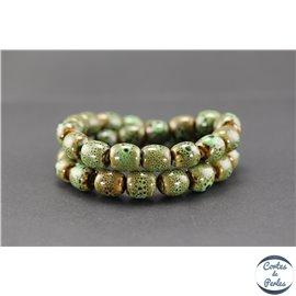 Perles en céramique - Tonneaux/12 mm - Vert cyprès