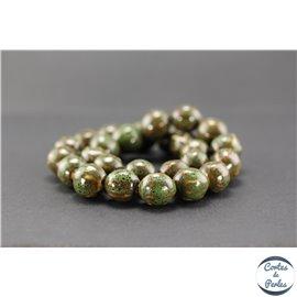 Perles en céramique - Rondes/14 mm - Vert cyprès