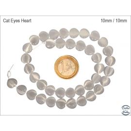 Perles Œil de Chat Lisses - Coeur/10 mm - Blanc
