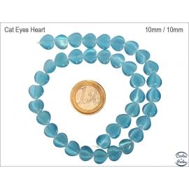 Perles oeil de chat lisses - Coeurs/10 mm - Turquoise
