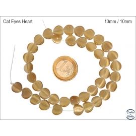 Perles oeil de chat lisses - Coeurs/10 mm - Bronze